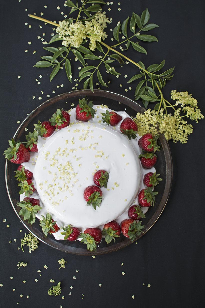 Strawberry Elderberry Flower Cake