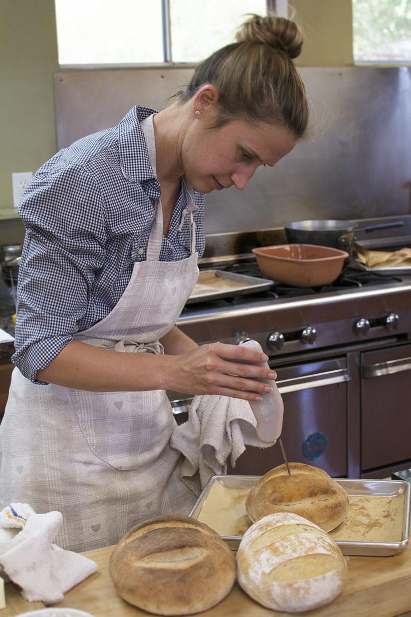 Maggie Checking bread temp