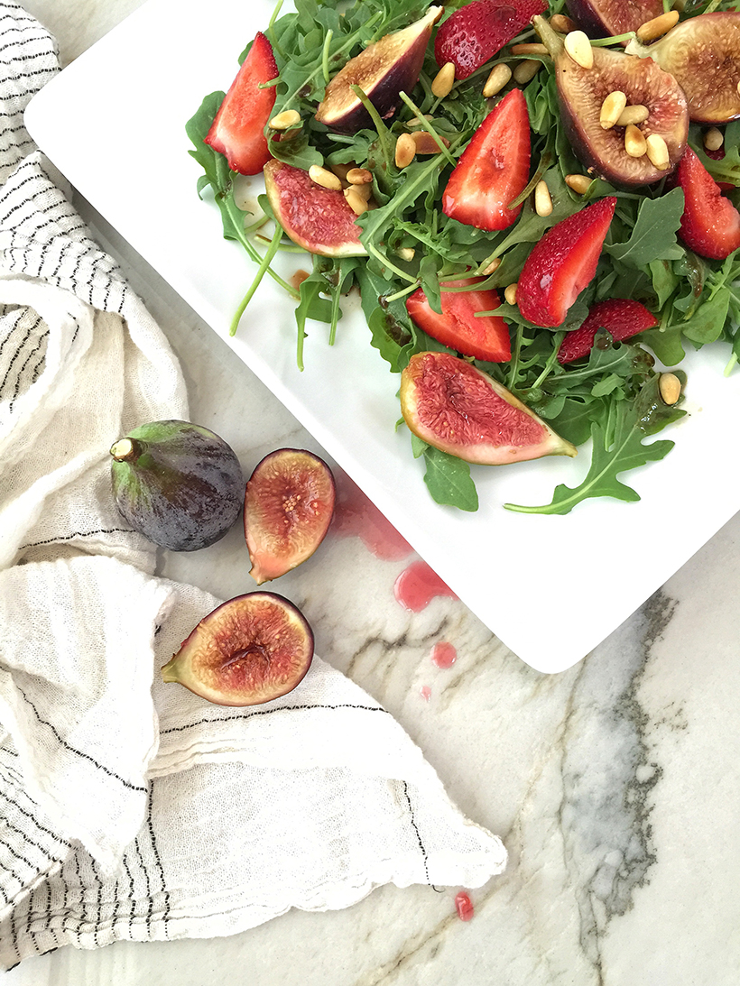 Gin-Poached Foraged Figs & Strawberry Salad